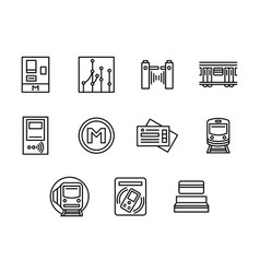 city subway black line icons set vector image