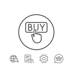 click to buy line icon online shopping sign vector image