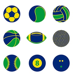 collection sport ball icon brazil color concept vector image