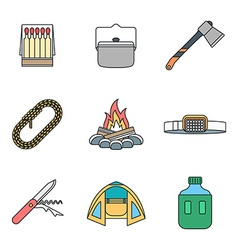 Colored outline various camping icons collection vector