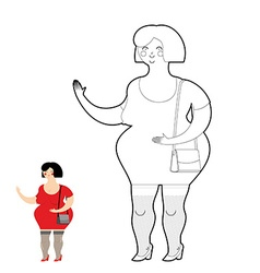 Coloring book Fun fat Prostitute Woman sexy vector image