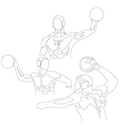 continuous one line water polo player set summer vector image