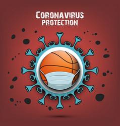 Coronavirus sign and basketball ball with mask vector