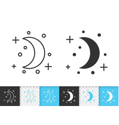 crescent simple black line icon vector image
