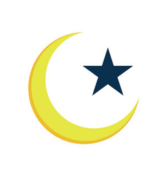 crescent star islam symbol design vector image