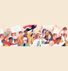 Crowd diverse people on demonstration vector