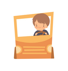 Cute creative boy character driving car made of vector