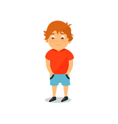 cute serious boy standing and holding his hands in vector image