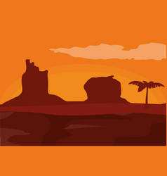 Desert and sunset vector