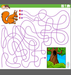 Educational maze game with cartoon squirrel vector