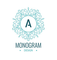 elegant line art circle logo and monogram design vector image