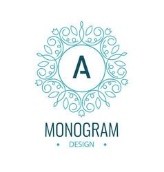 Elegant line art circle logo and monogram design vector