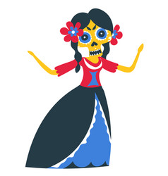 female character wearing makeup skull day of vector image