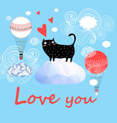 festive greeting card with enamored funny cat vector image
