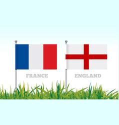 Flags of france and england against the backdrop vector