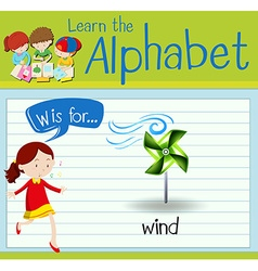 Flashcard alphabet W is for wind vector