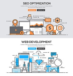 Flat design line concept Seo Development vector
