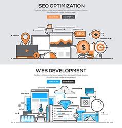 Flat design line concept Seo Development vector image