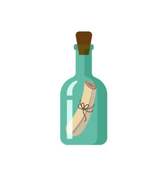 Flat style icon of message in green glass bottle vector