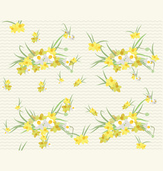 Floral narcissus retro vintage background vector