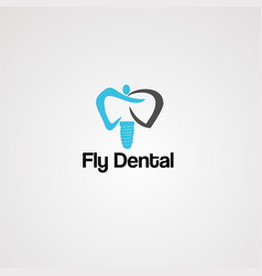 fly dental logo icon element and template vector image