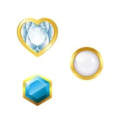 Gems on white background vector
