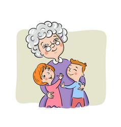 Grandmother hugs her grandchildren vector