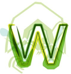 Green letter W vector
