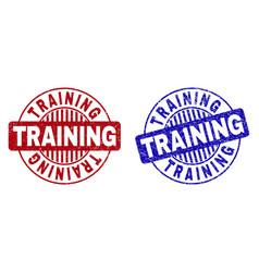 Grunge training scratched round stamp seals vector