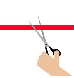 hand cut red ribbon vector image