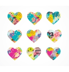 Hand drawn painted colorful heart icons vector