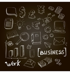 hand drawn set business vector image