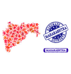 Handmade composition of map of maharashtra state vector