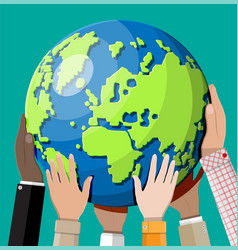 hands reaching for earth vector image