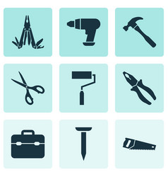 Handtools icons set collection of paint toolkit vector