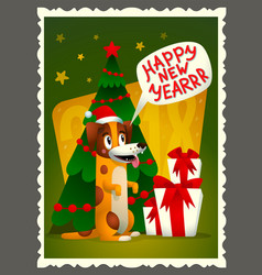 happy new year card retro style greeting vector image