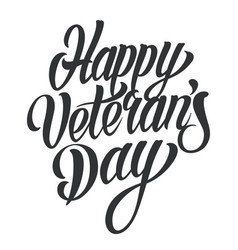 happy veterans day lettering vector image