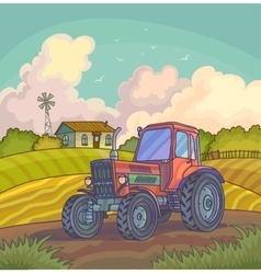 Harvest time Farm rural landscape vector