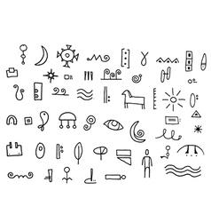 Hieroglyphic Symbol Doodles vector