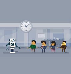 human vs robots modern robotic and business people vector image