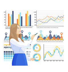 Infographics and info structure woman thinking vector