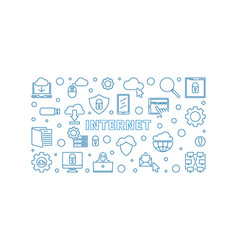 internet concept line horizontal banner vector image