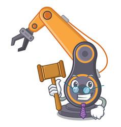 Judge industrial robotic hand in cahracter vector