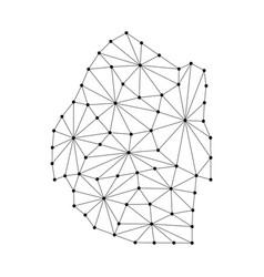 Kingdom of swaziland map of polygonal mosaic vector