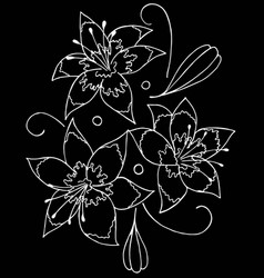 Lilies drawing by hand- vector