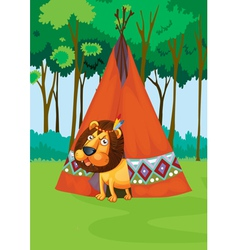 Lion and tent vector