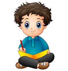 little boy cartoon writing a book vector image