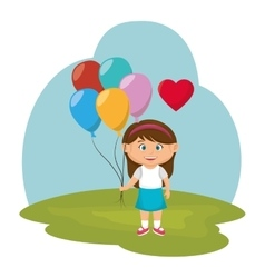 little girl with balloons air vector image