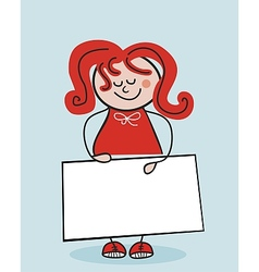 Little School Girl And Banner vector image