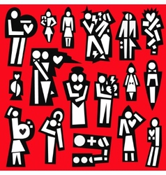 man and woman love married - icons vector image